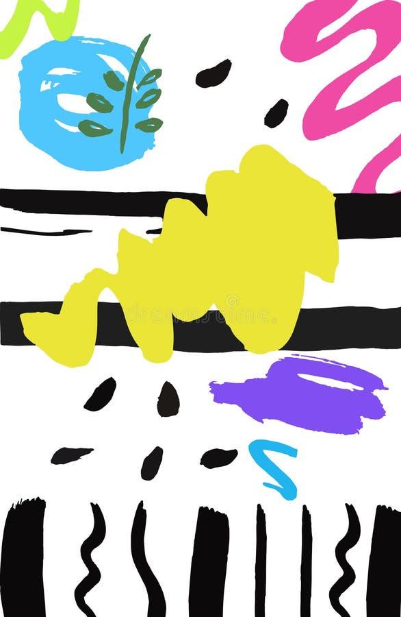 Texture tirée par la main colorée avec la conception noire d'éléments illustration libre de droits