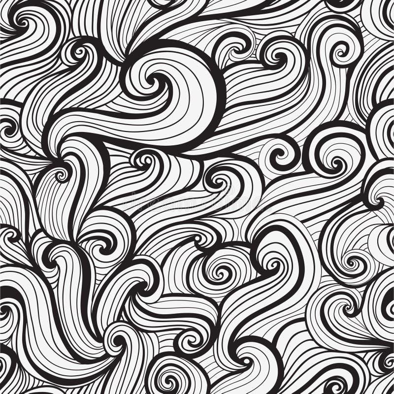 Texture tirée par la main sans couture de vagues illustration de vecteur
