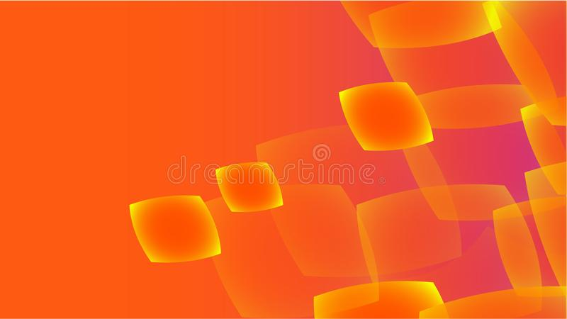 Texture from transparent orange abstract volumetric fashionable magic light air aerial carved circles, curved lines, squares on an stock illustration