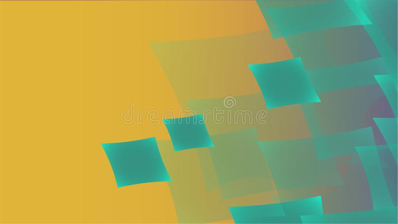 Texture of transparent turquoise abstract volumetric fashionable magic light air aerial carved circles, curved lines, squares on a royalty free illustration