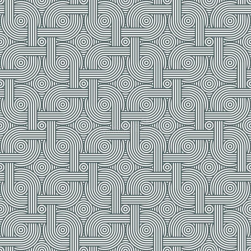 Texture tressée dense avec les cercles concentriques Mod?le ray? sans couture monochrome illustration stock