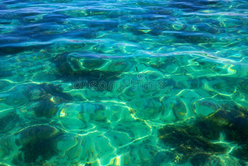 Texture tropicale bleue transparente d'eau de mer Photo de plan rapproché d'eau de mer Surface toujours de mer Bord de la mer tro photo stock