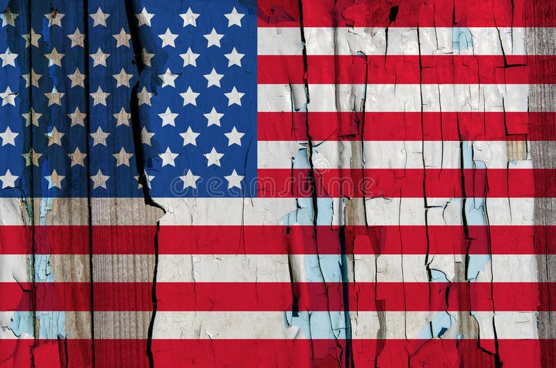 Texture of USA flag on grunge wood royalty free stock images