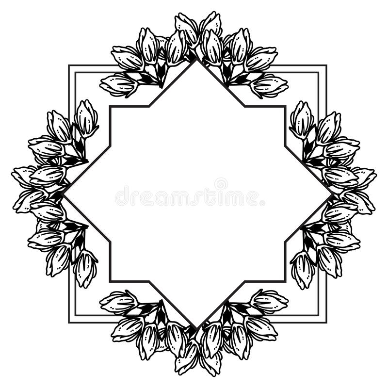 Texture of various card, feature beautiful floral frame. Vector. Illustration stock illustration
