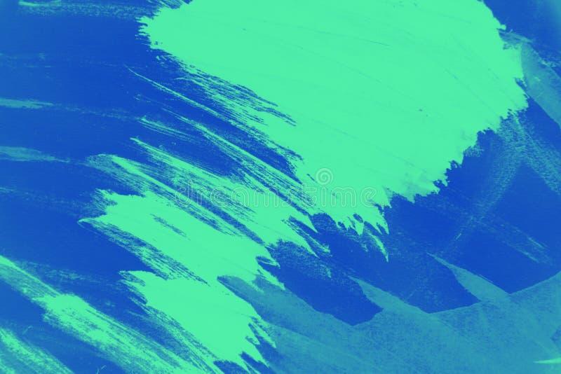 Texture verte et bleue de fond de mode de peinture avec les courses grunges de brosse image stock