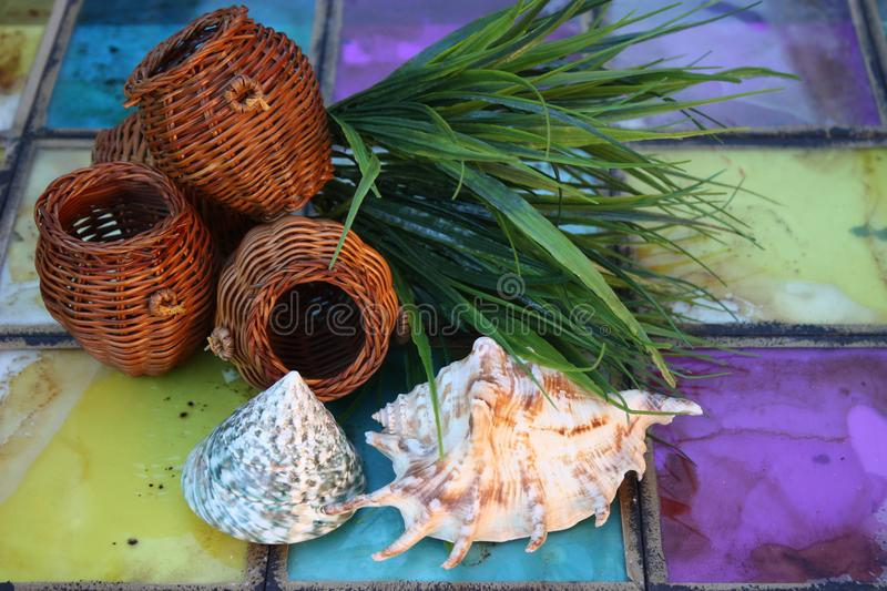 Texture Vintage glass tiles stained glass. Sea shell still-life wicker basket landscape stock photography
