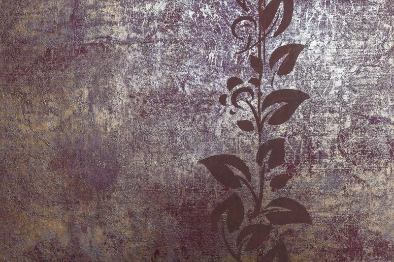 Texture wallpaper background burgundy color with gold. Right up stencil drawing branches with leaves - floral ornament stock photography