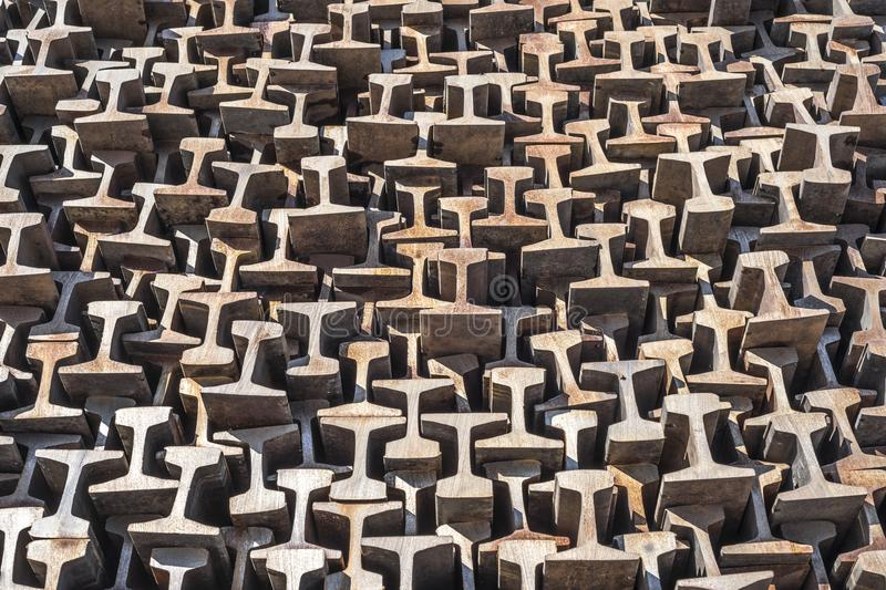 Texture warehouse rails in a cut. Production for the railway transport of the metro trams. metallurgy production. Railway stock photos