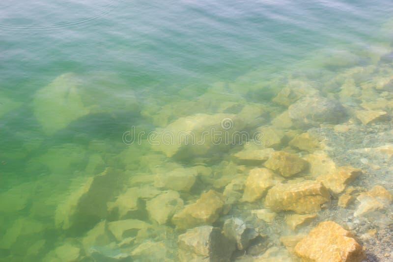 Texture of water surface sun water stones waves - underwater world stock photo