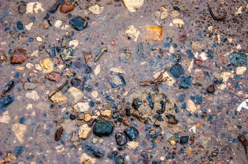 The texture of wet stones in shallow water on the sand - photo. Background stock images