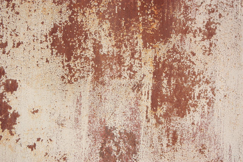 Texture of white chipping paint on metal stock image