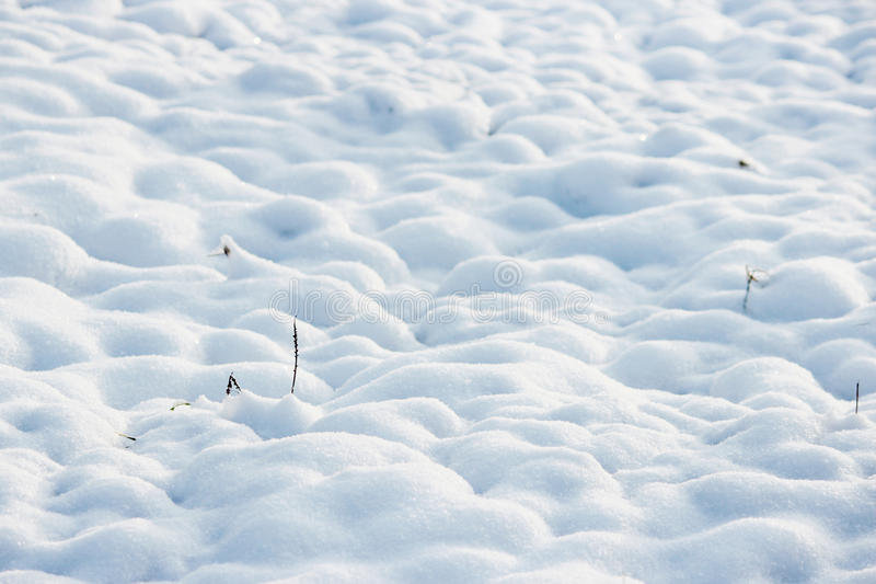 Texture of white snow like small drifts that covered the dug earth.  royalty free stock photography