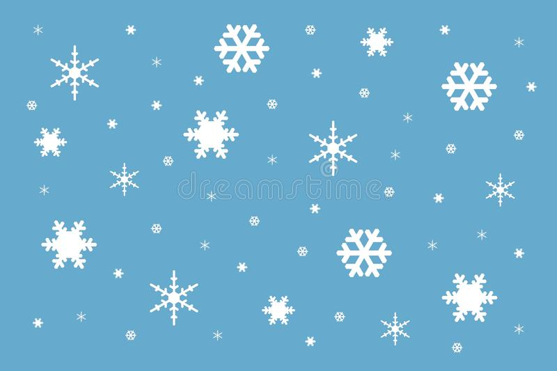 Texture from white snowflakes of different form and size stock image