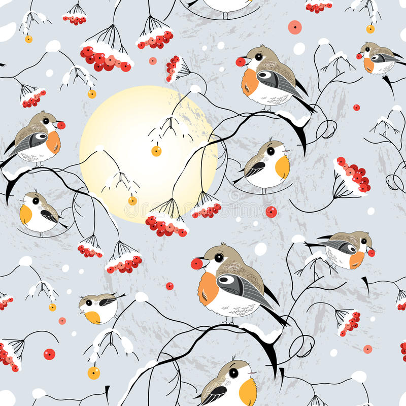 Texture of the winter birds. Seamless pattern of winter birds in the trees on a gray background vector illustration