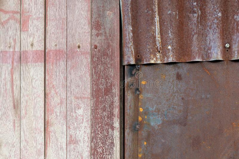 Texture wood and zinc wall, wood and zinc rust texture floor old dirty background royalty free stock photo