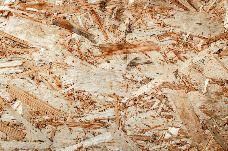 Texture of wooden chipboard. The texture of the wooden surface of pressed chips and sawdust closeup stock photos