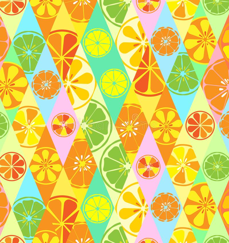 Texture yellow with a pattern of lemons limes oranges citrus fresh fruit useful vitamin summer tropical tasty sweet in rhombus vector illustration