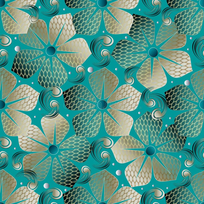 Textured abstract floral seamless pattern. Vector turquoise mode royalty free illustration