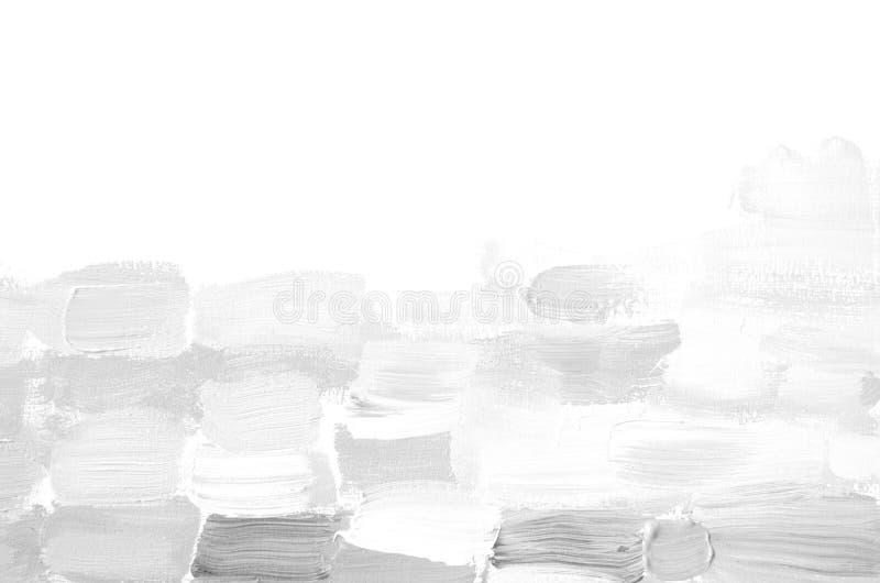 Textured abstrakcjonistyczny biały i szary akrylowy obraz Biała ręka malujący brushstroke tło Grunge tło Brushstrokes p zdjęcia stock