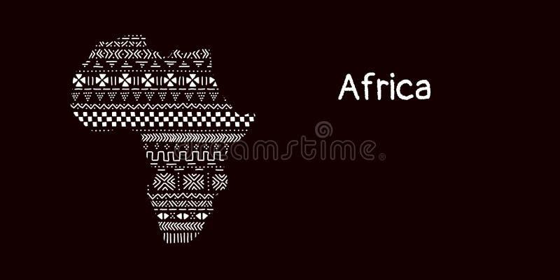Textured Afryka kontynent w czarny i biały mudcloth ornamencie, wektor ilustracji