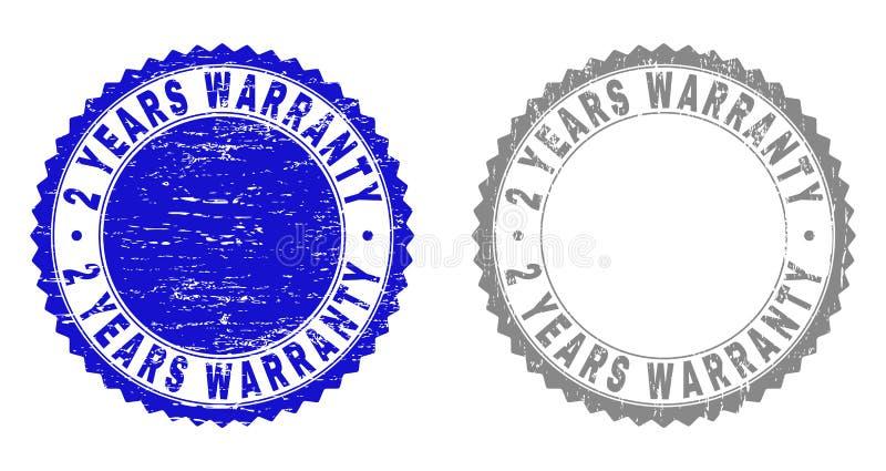 Textured 2 ANOS de GARANTIA riscou selos do selo com fita ilustração do vetor