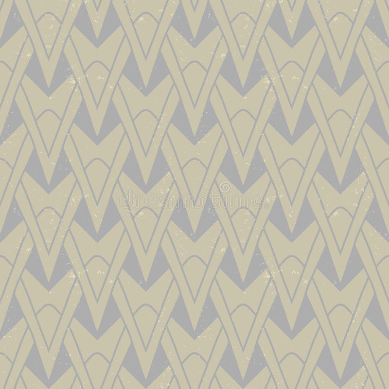 Textured art deco pattern with geometrical motifs. Organic geometric art deco pattern in beige colors, seamless vector background on paper texture. Ornament for vector illustration