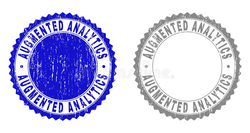 Textured AUGMENTED ANALYTICS Scratched Stamp Seals royalty free illustration