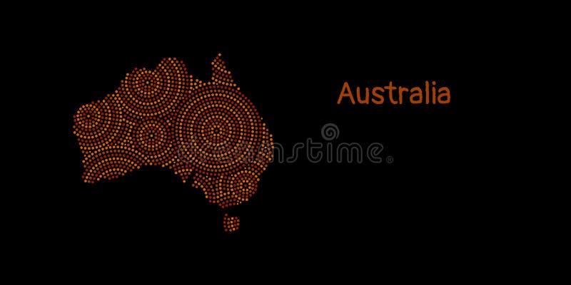 Textured Australia kontynent w czerwonym tubylczym kropki sztuki ornamencie, wektor ilustracji