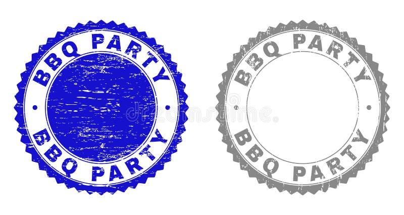 Textured BBQ przyjęcia Grunge znaczka foki royalty ilustracja