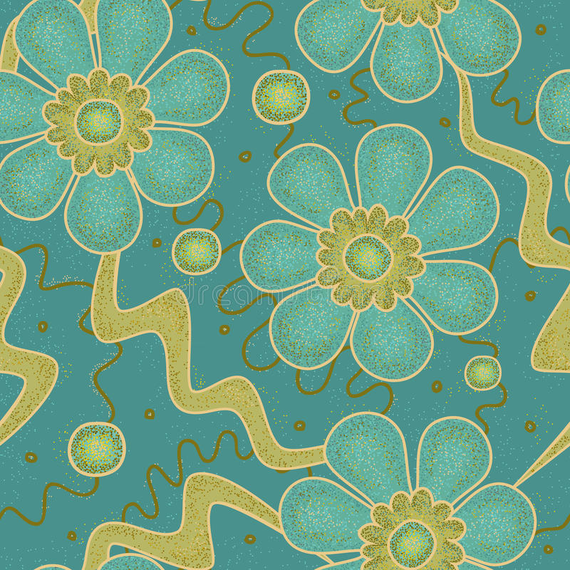 Textured bezszwowy wektoru wzór z kwiatami i abstraktów elementami Pełny kolor dimpled tekstury tło z cieniami turquois ilustracja wektor