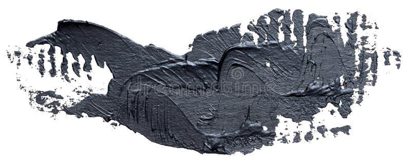 Textured black oil paint brush stroke, isolated vector illustration