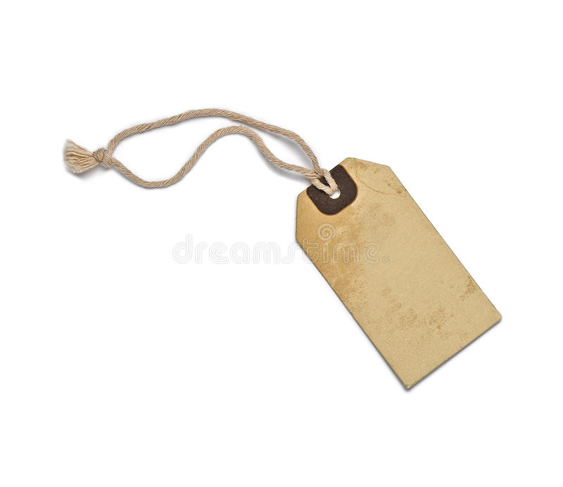 Textured blank tag tied with brown string royalty free stock photography