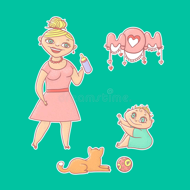 Textured bright isolated vector set illustration sticker. Young mother in dress gives bottle to drink a happy little baby. Ginger stock illustration