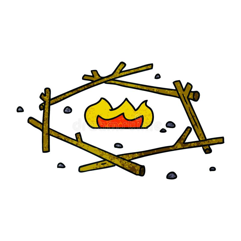 Textured cartoon doodle of a camp fire. A creative illustrated textured cartoon doodle of a camp fire royalty free illustration