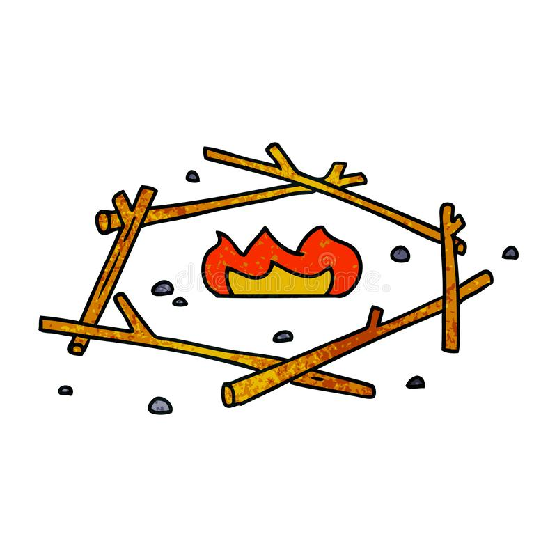 Textured cartoon doodle of a camp fire. A creative illustrated textured cartoon doodle of a camp fire stock illustration