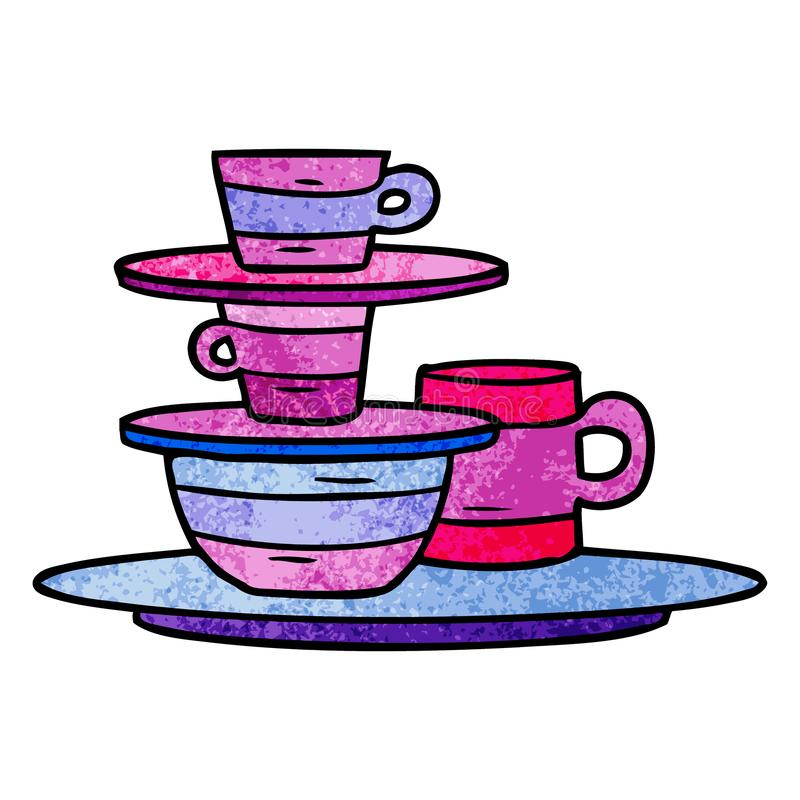 Textured cartoon doodle of colourful bowls and plates. A creative illustrated textured cartoon doodle of colourful bowls and plates royalty free illustration