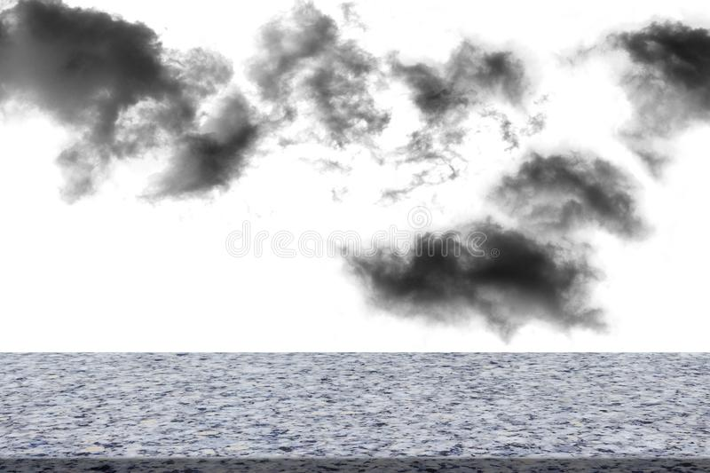 Textured cloud with marble deck tabletop,isolated on white background royalty free stock images