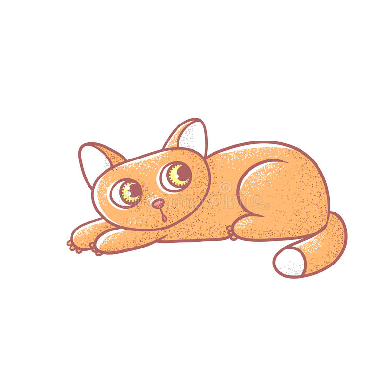 Textured color vector isolated illustration of cute emotional ginger kitten. The face of a cat expresses fright. Pussycat is pressed to the floor in fear stock illustration