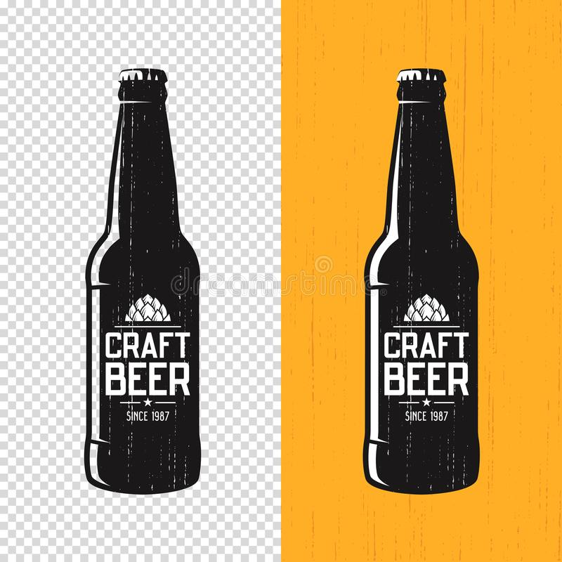 Free Textured Craft Beer Bottle Label Design. Vector Logo, Emblem, Ty Royalty Free Stock Images - 104161759