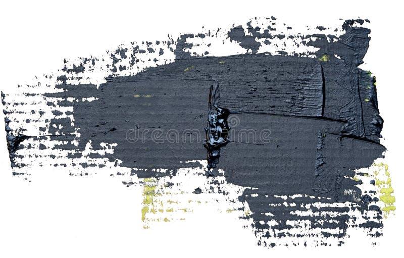 Textured czarny nafcianej farby muśnięcia uderzenie, odosobniony ilustracji