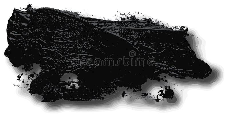 Textured czarny nafcianej farby muśnięcia uderzenie z cieniami ilustracja wektor