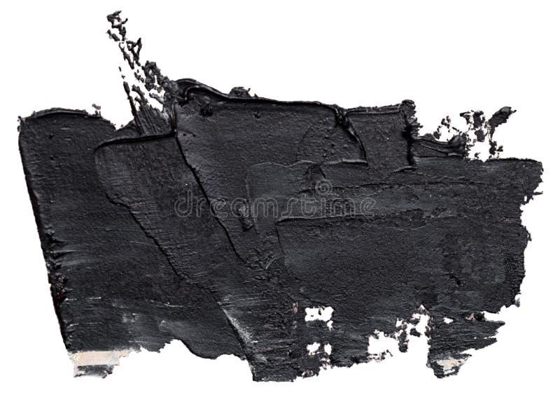 Textured czarny nafcianej farby muśnięcia uderzenie, odosobniony royalty ilustracja