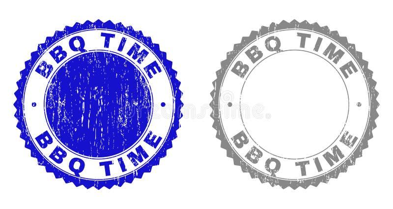Textured czas Drapający BBQ znaczki ilustracja wektor
