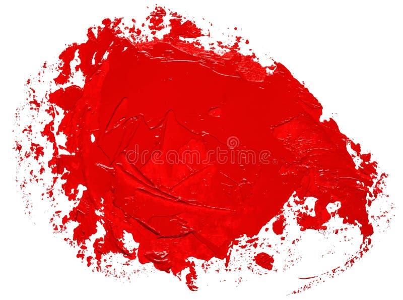 Textured czerwona nafcianej farby muśnięcia uderzenia okręgu mowy bąbla forma royalty ilustracja
