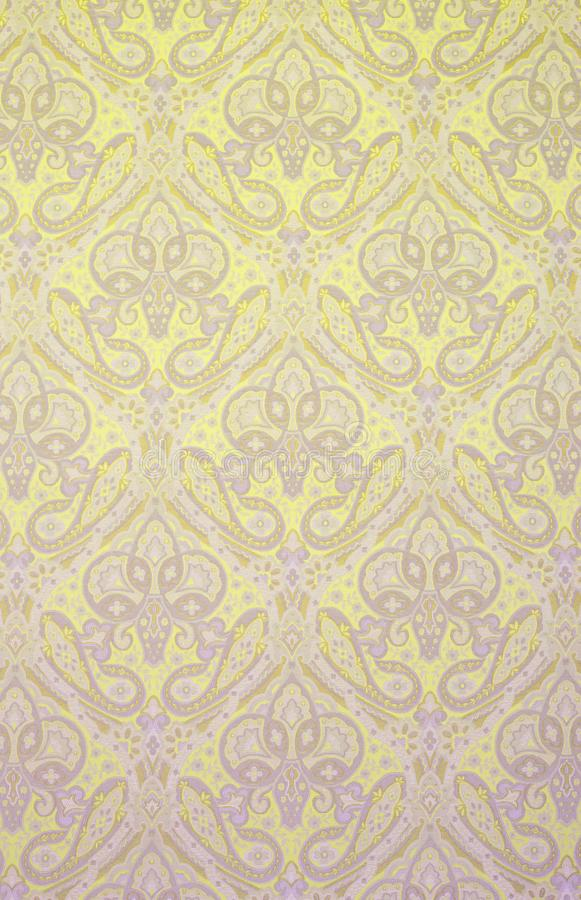 Textured Fabric Background with Floral Swirls royalty free stock image