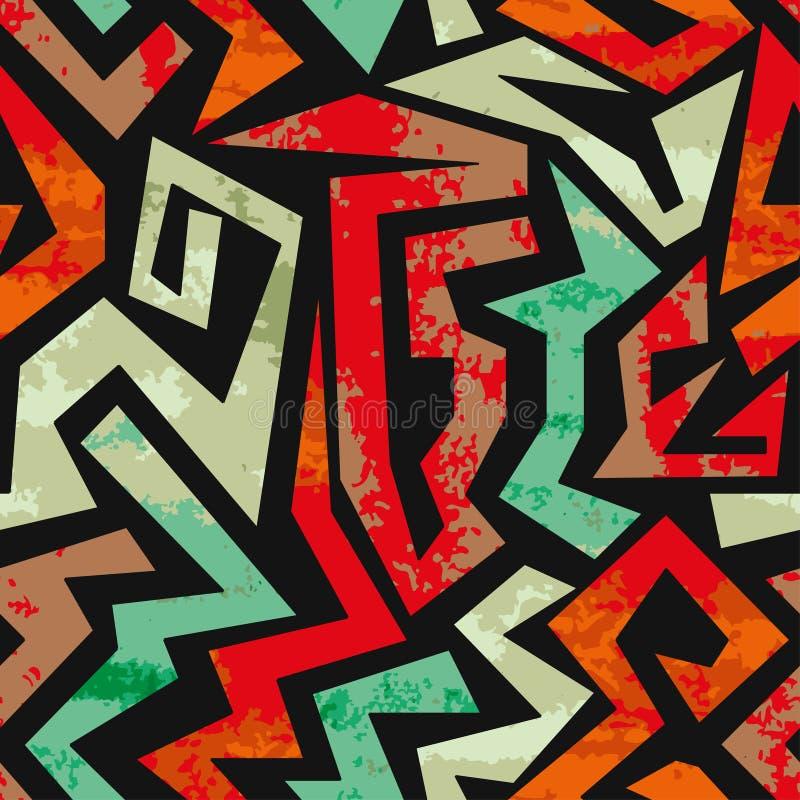 Textured graffiti bezszwowy wzór pochodzenie wektora abstrakcyjne royalty ilustracja