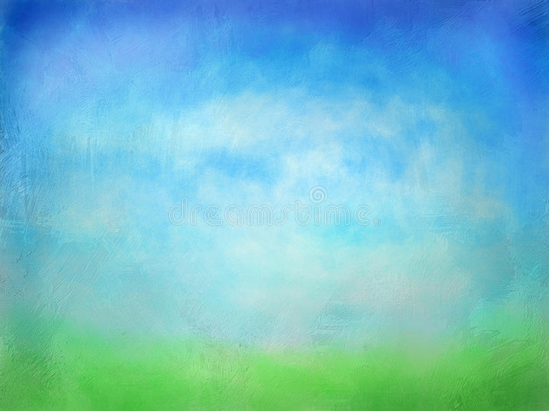 Textured Green Grass With Blue Sky Watercolor Background stock photo