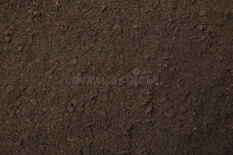 Textured ground surface as background. Fertile soil royalty free stock images