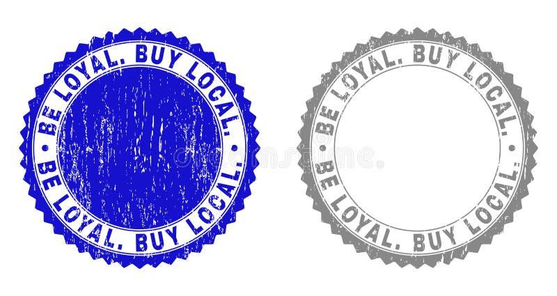 Textured JEST LOJALNY zakupu miejscowy Porysowane znaczek foki ilustracja wektor