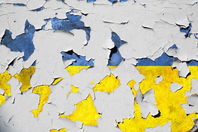 Textured knäckte den Ukraina nationsflaggan royaltyfria foton